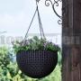 Závesný ratanový kvetináč antracit