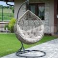 Závěsné ratanové křeslo Relax Antik Grey se stojanem