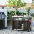 BBQ Záhradný úložný stolík 183L hnedý