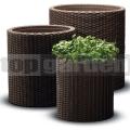 Rattan virágcserép Cylinder - M brown