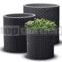 Ratanový kvetináč Cylinder - L antracit