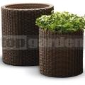 Ratanový kvetináč Cylinder - S brown