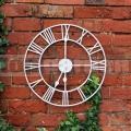 Záhradné nástenné hodiny biele GCBW
